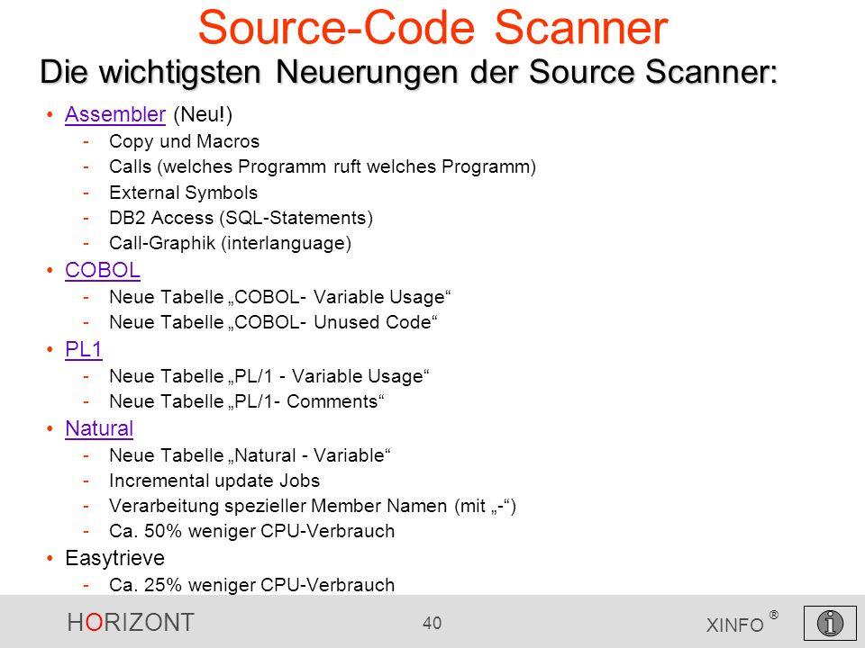 HORIZONT 40 XINFO ® Source-Code Scanner Assembler (Neu!)Assembler -Copy und Macros -Calls (welches Programm ruft welches Programm) -External Symbols -