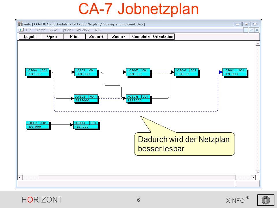 HORIZONT 6 XINFO ® CA-7 Jobnetzplan Dadurch wird der Netzplan besser lesbar