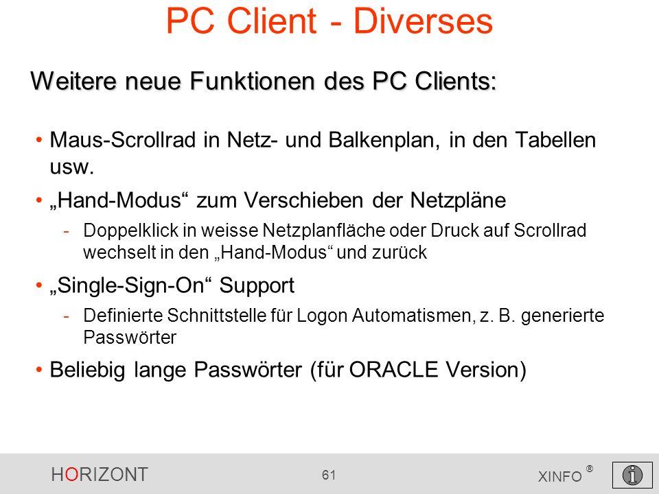 HORIZONT 61 XINFO ® PC Client - Diverses Maus-Scrollrad in Netz- und Balkenplan, in den Tabellen usw. Hand-Modus zum Verschieben der Netzpläne -Doppel