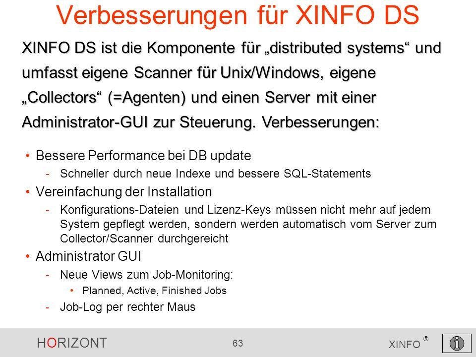 HORIZONT 63 XINFO ® Verbesserungen für XINFO DS Bessere Performance bei DB update -Schneller durch neue Indexe und bessere SQL-Statements Vereinfachun