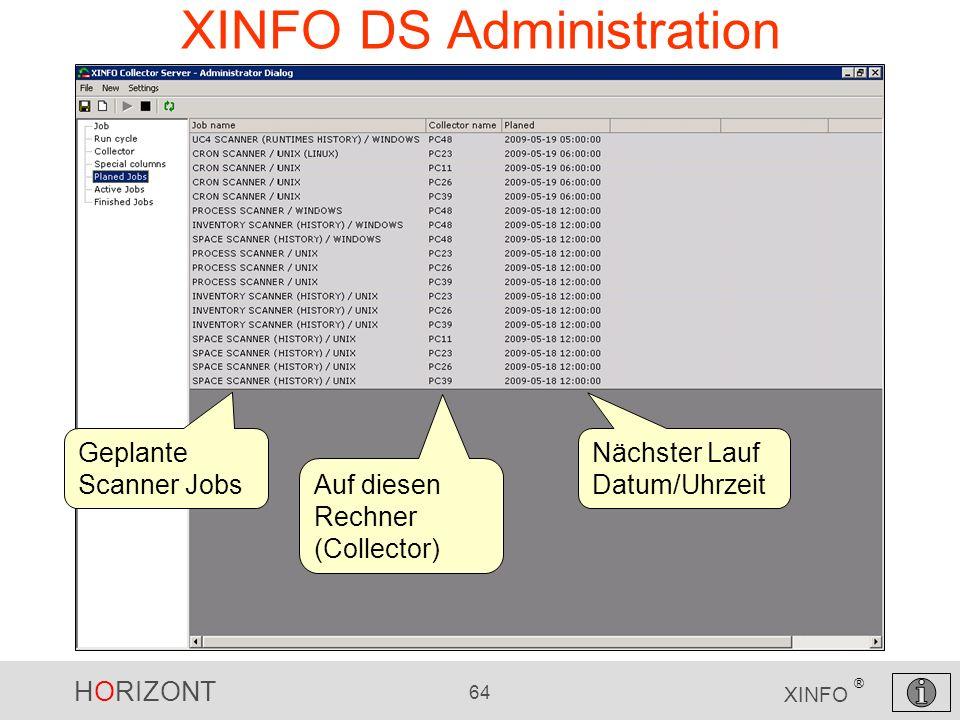 HORIZONT 64 XINFO ® XINFO DS Administration Geplante Scanner Jobs Auf diesen Rechner (Collector) Nächster Lauf Datum/Uhrzeit