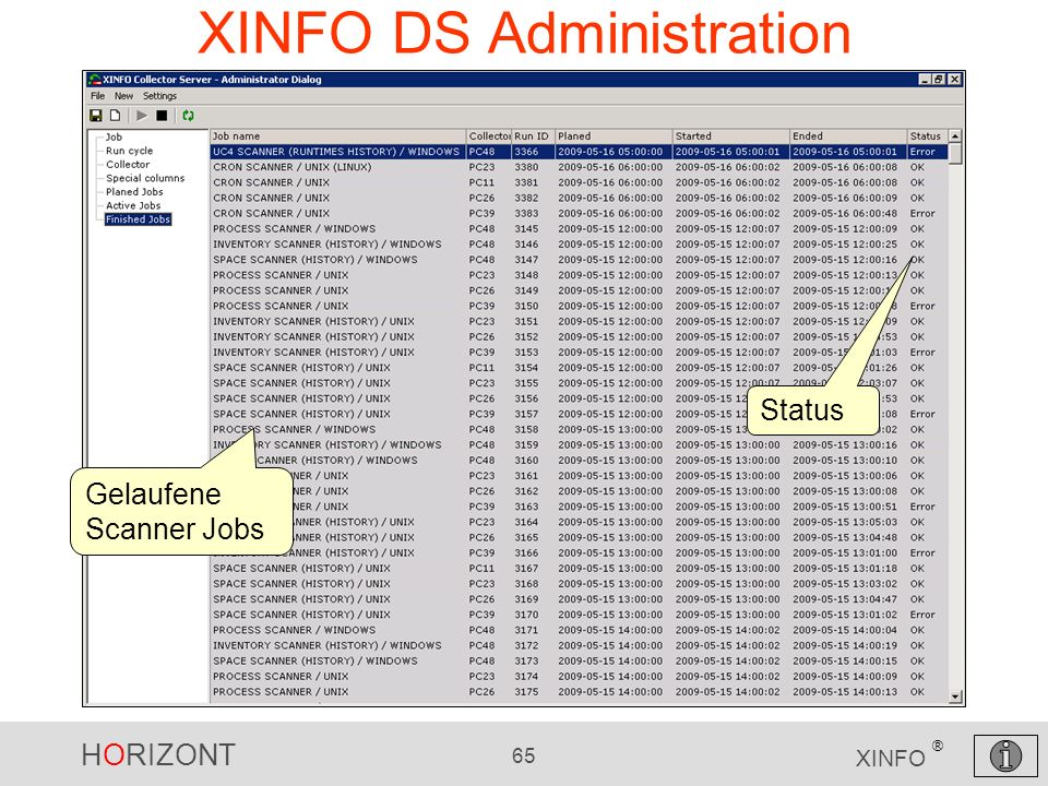 HORIZONT 65 XINFO ® XINFO DS Administration Gelaufene Scanner Jobs Status