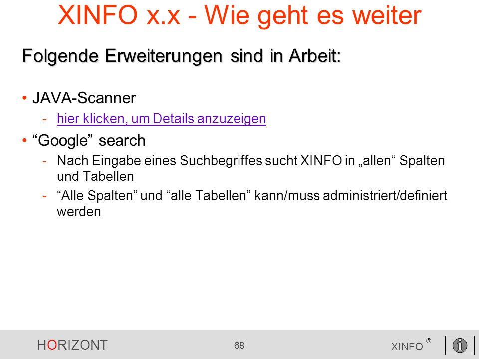 HORIZONT 68 XINFO ® XINFO x.x - Wie geht es weiter JAVA-Scanner -hier klicken, um Details anzuzeigenhier klicken, um Details anzuzeigen Google search