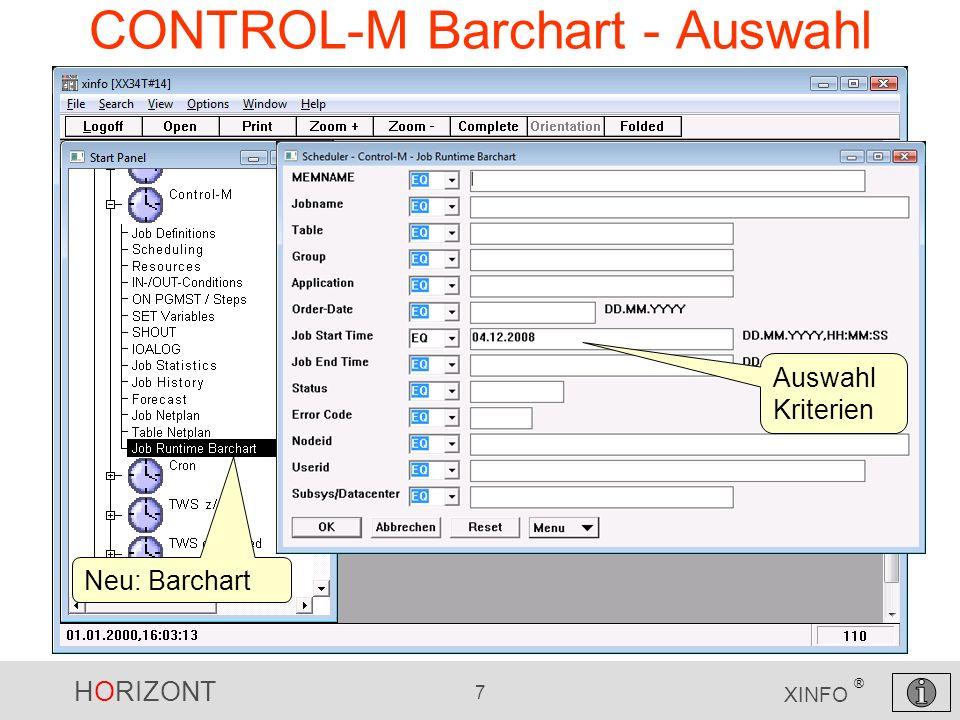 HORIZONT 7 XINFO ® CONTROL-M Barchart - Auswahl Neu: Barchart Auswahl Kriterien