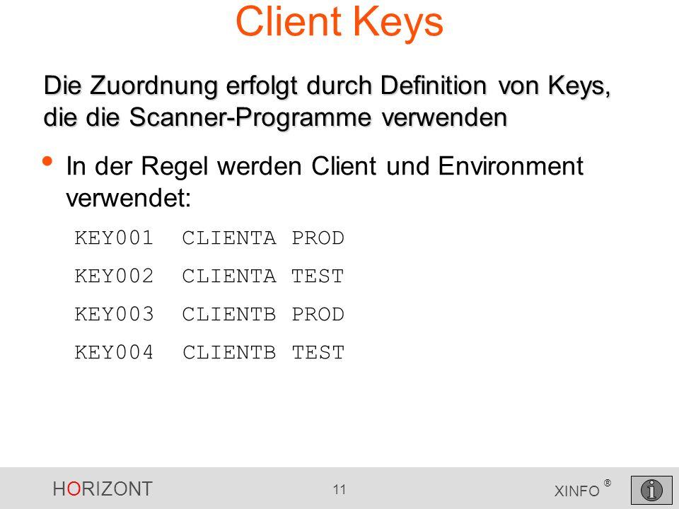 HORIZONT 11 XINFO ® Client Keys In der Regel werden Client und Environment verwendet: KEY001 CLIENTA PROD KEY002 CLIENTA TEST KEY003 CLIENTB PROD KEY0
