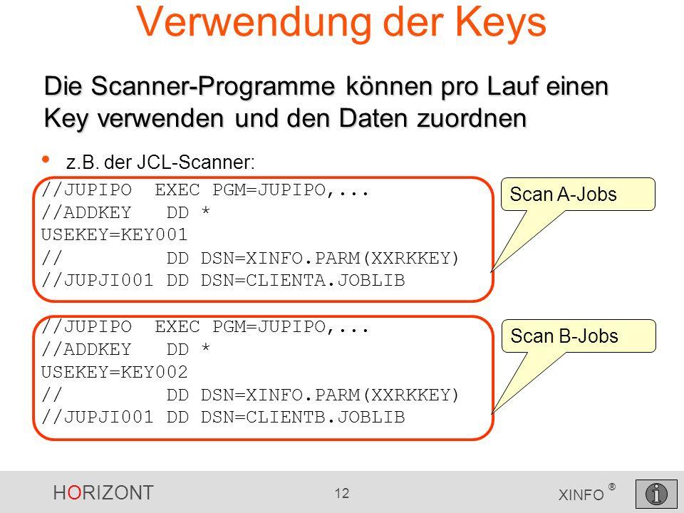 HORIZONT 12 XINFO ® Verwendung der Keys z.B. der JCL-Scanner: //JUPIPO EXEC PGM=JUPIPO,... //ADDKEY DD * USEKEY=KEY001 // DD DSN=XINFO.PARM(XXRKKEY) /