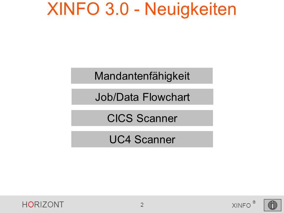 HORIZONT 33 XINFO ® XINFO mit hierarchischen Räumen Mandant Hauptprogramm Environment Hauptprogramm (Prod/Test/Entw.) Unterprogramm Environment Unterprogramm (Prod/Test/Entw.)