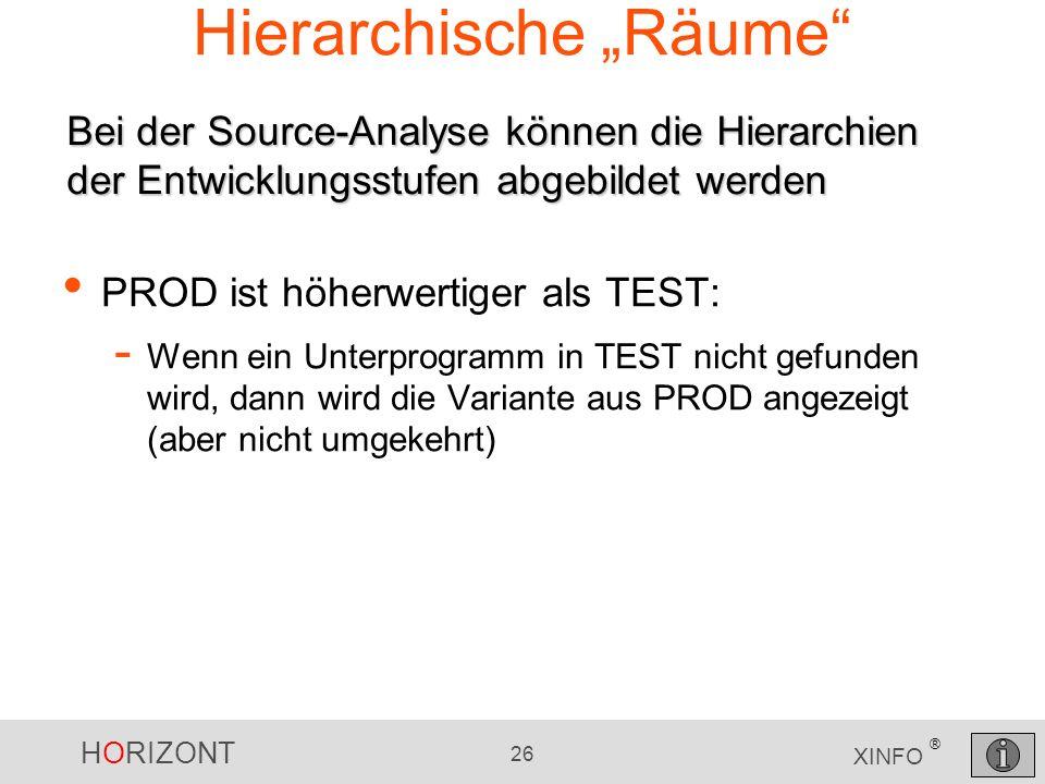 HORIZONT 26 XINFO ® Hierarchische Räume PROD ist höherwertiger als TEST: - Wenn ein Unterprogramm in TEST nicht gefunden wird, dann wird die Variante