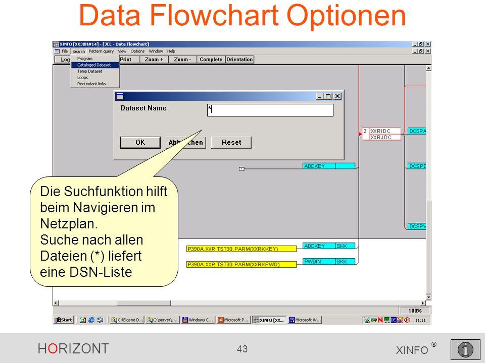 HORIZONT 43 XINFO ® Data Flowchart Optionen Die Suchfunktion hilft beim Navigieren im Netzplan. Suche nach allen Dateien (*) liefert eine DSN-Liste