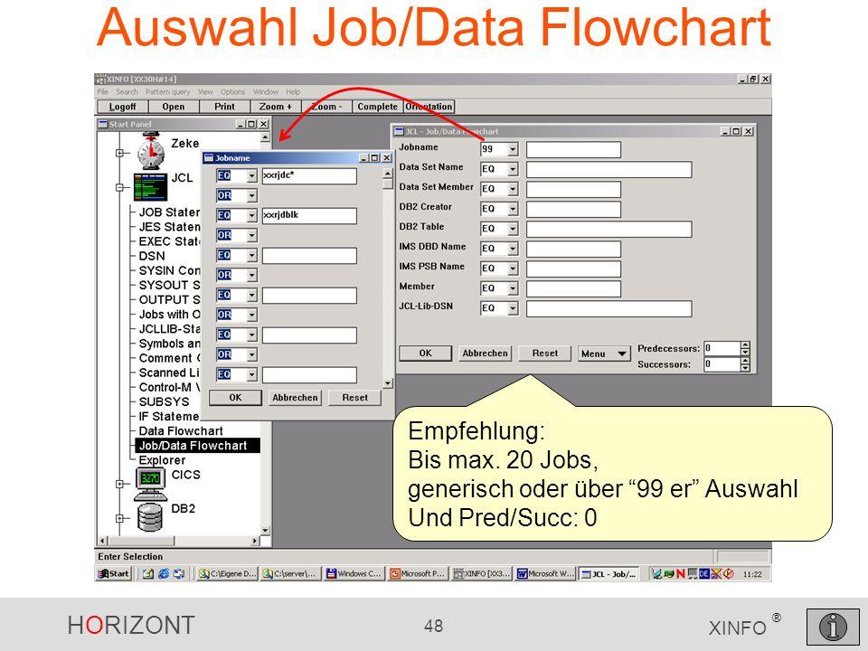 HORIZONT 48 XINFO ® Auswahl Job/Data Flowchart Empfehlung: Bis max. 20 Jobs, generisch oder über 99 er Auswahl Und Pred/Succ: 0