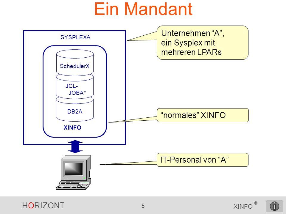 HORIZONT 5 XINFO ® Ein Mandant SYSPLEXA DB2A JCL- JOBA* SchedulerX XINFO Unternehmen A, ein Sysplex mit mehreren LPARs IT-Personal von A normales XINF