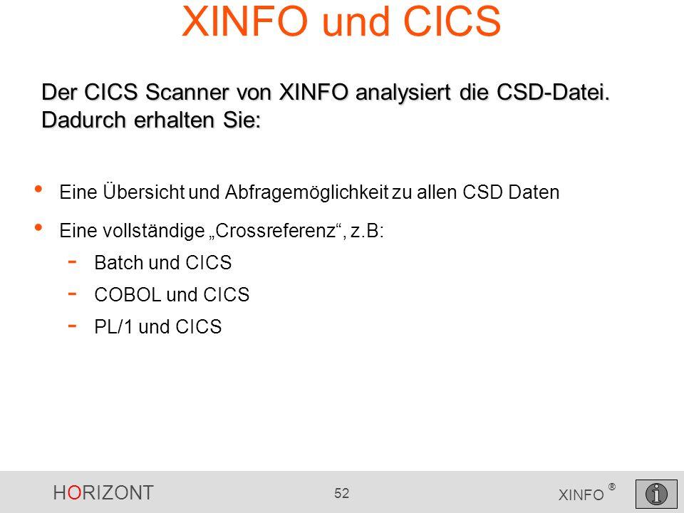 HORIZONT 52 XINFO ® XINFO und CICS Eine Übersicht und Abfragemöglichkeit zu allen CSD Daten Eine vollständige Crossreferenz, z.B: - Batch und CICS - C