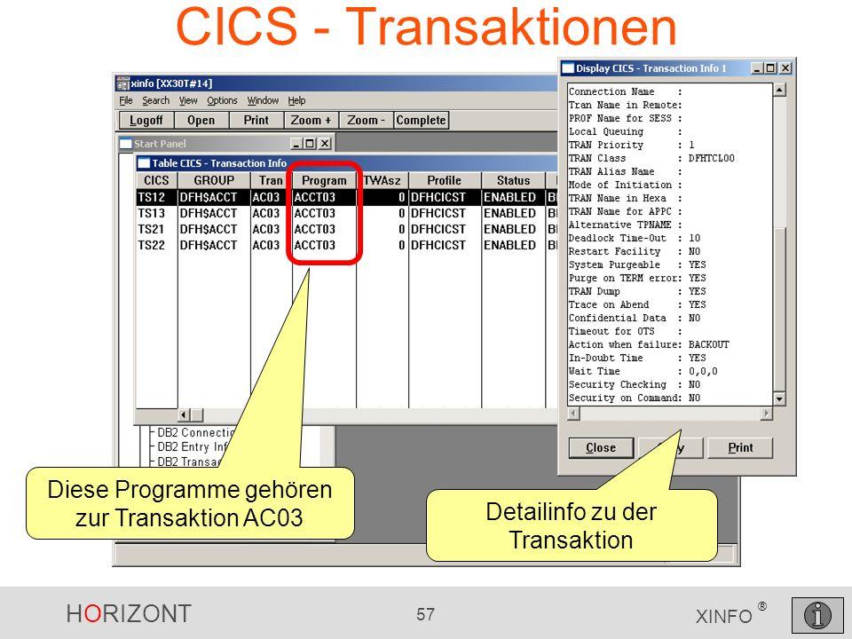 HORIZONT 57 XINFO ® CICS - Transaktionen Diese Programme gehören zur Transaktion AC03 Detailinfo zu der Transaktion
