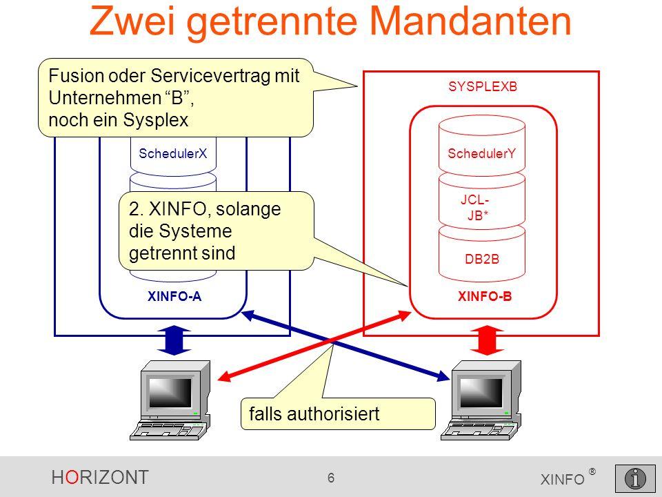 HORIZONT 7 XINFO ® Zwei Mandanten SYSPLEX DB2A JCL- JOBA* SchedulerX XINFO-A DB2B JCL- JB* SchedulerY XINFO-B Die Integration der Mandanten in eine IT- Welt erfordert die Integration in ein XINFO
