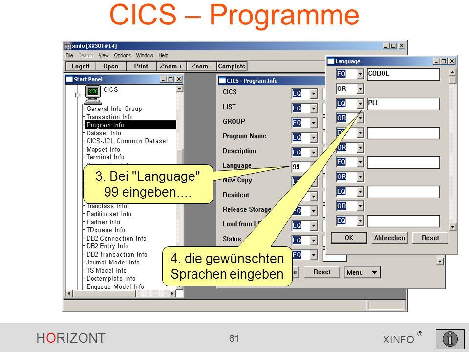 HORIZONT 61 XINFO ® CICS – Programme 3. Bei