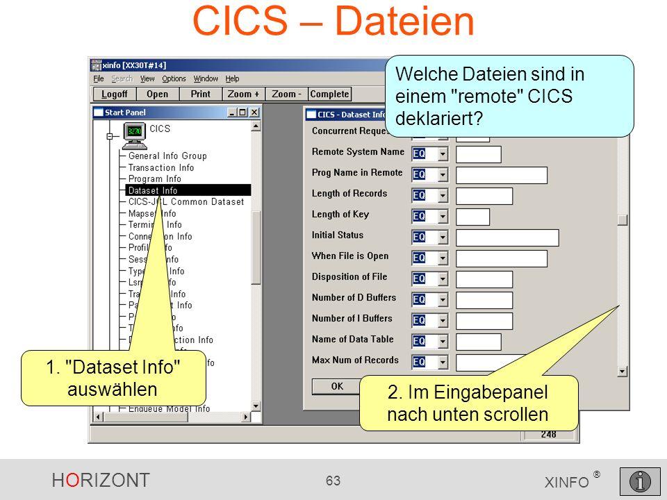 HORIZONT 63 XINFO ® CICS – Dateien Welche Dateien sind in einem