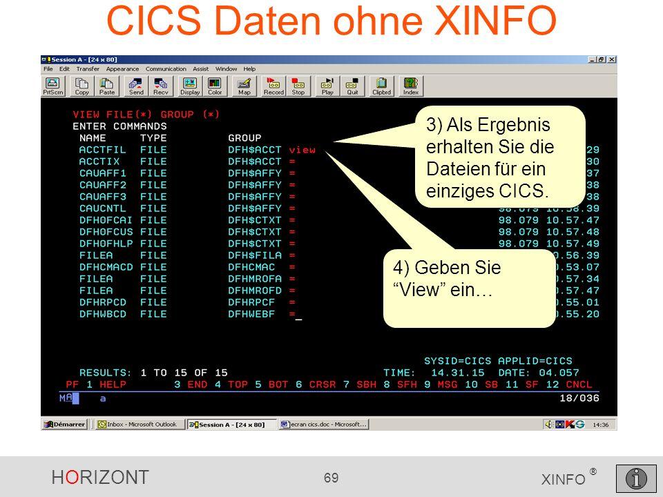 HORIZONT 69 XINFO ® CICS Daten ohne XINFO 3) Als Ergebnis erhalten Sie die Dateien für ein einziges CICS. 4) Geben Sie View ein…