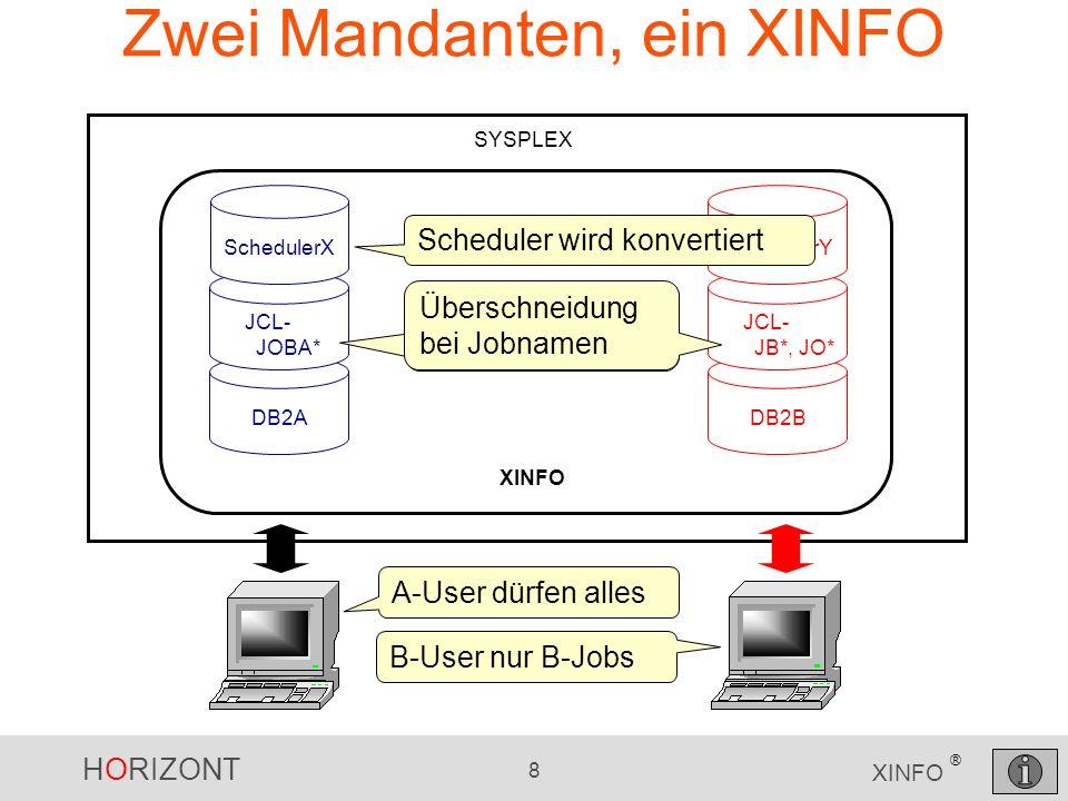 HORIZONT 8 XINFO ® Zwei Mandanten, ein XINFO SYSPLEX DB2A JCL- JOBA* SchedulerX XINFO DB2B JCL- JB*, JO* SchedulerY Scheduler wird konvertiert Übersch
