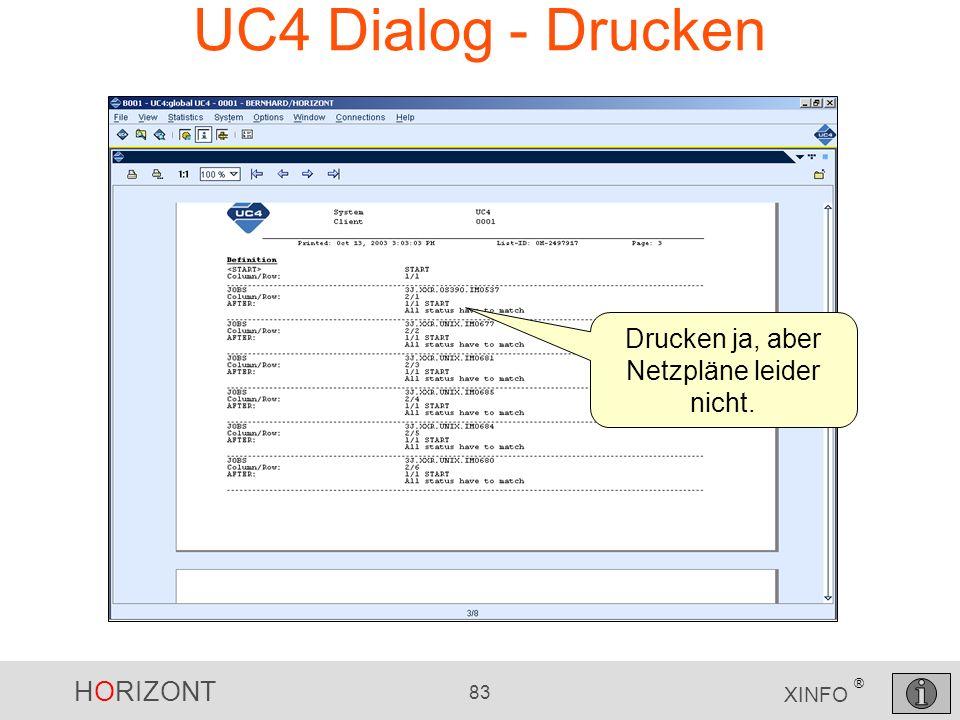HORIZONT 83 XINFO ® UC4 Dialog - Drucken Drucken ja, aber Netzpläne leider nicht.