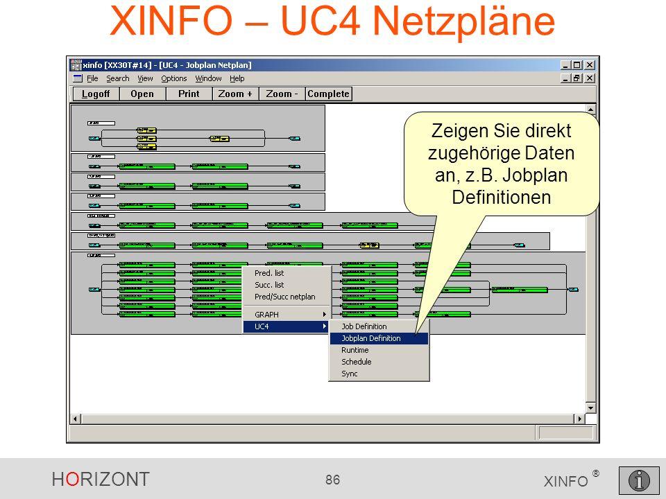 HORIZONT 86 XINFO ® XINFO – UC4 Netzpläne Zeigen Sie direkt zugehörige Daten an, z.B. Jobplan Definitionen
