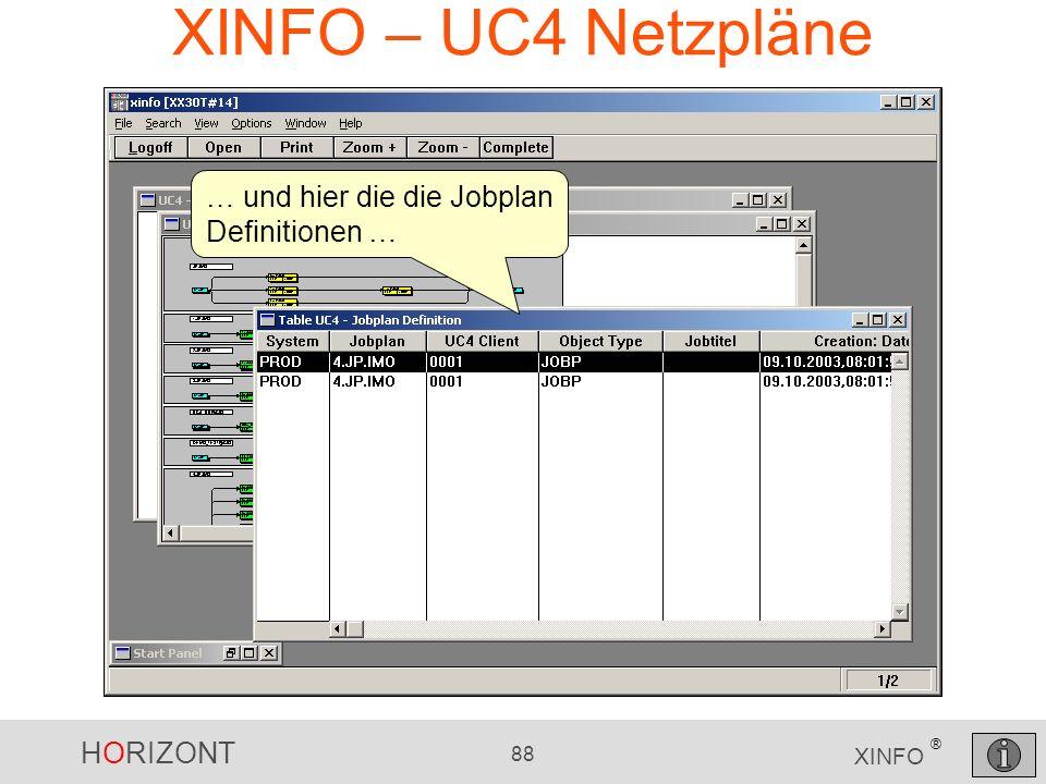 HORIZONT 88 XINFO ® XINFO – UC4 Netzpläne … und hier die die Jobplan Definitionen …