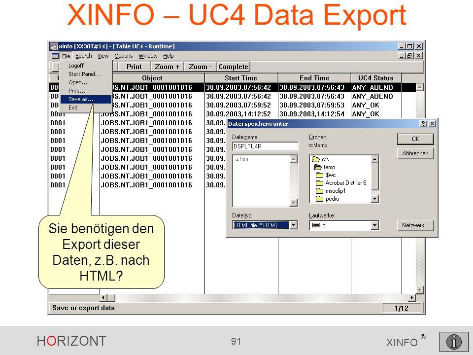 HORIZONT 91 XINFO ® XINFO – UC4 Data Export Sie benötigen den Export dieser Daten, z.B. nach HTML?