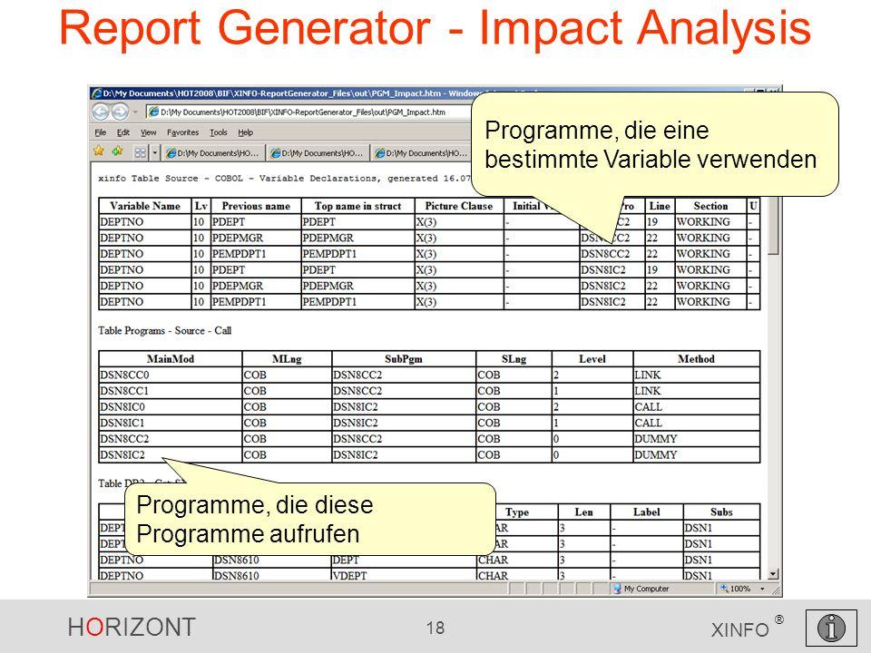 HORIZONT 18 XINFO ® Report Generator - Impact Analysis Programme, die eine bestimmte Variable verwenden Programme, die diese Programme aufrufen