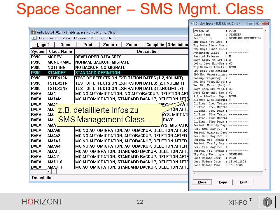 HORIZONT 22 XINFO ® Space Scanner – SMS Mgmt.Class z.B.