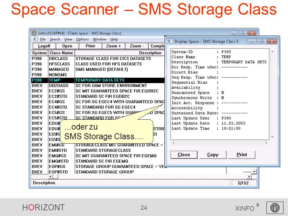 HORIZONT 24 XINFO ® Space Scanner – SMS Storage Class...oder zu SMS Storage Class....