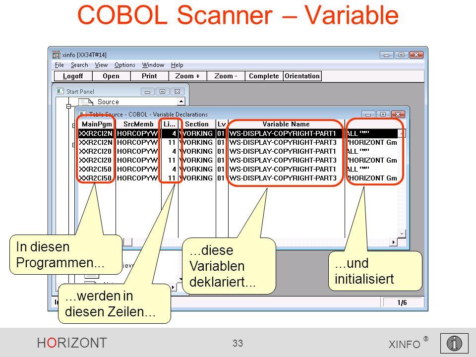 HORIZONT 33 XINFO ® COBOL Scanner – Variable In diesen Programmen......werden in diesen Zeilen......diese Variablen deklariert......und initialisiert