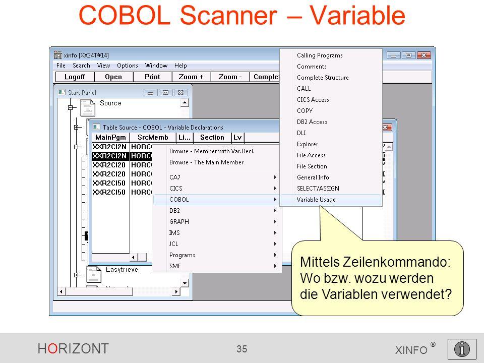 HORIZONT 35 XINFO ® COBOL Scanner – Variable Mittels Zeilenkommando: Wo bzw. wozu werden die Variablen verwendet?