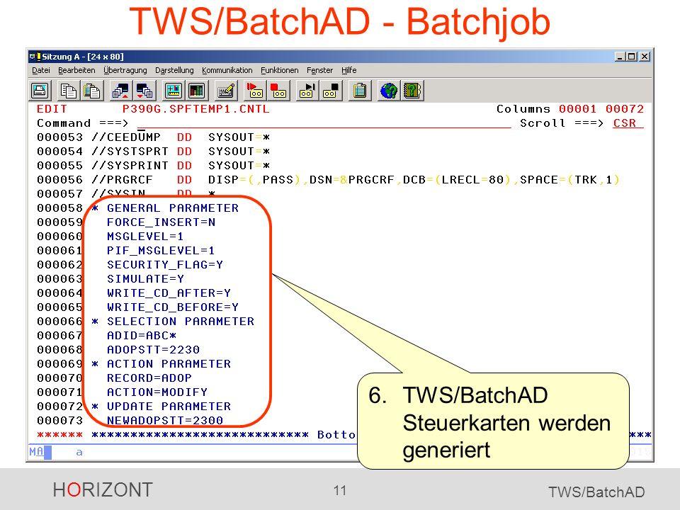 HORIZONT 11 TWS/BatchAD TWS/BatchAD - Batchjob 6.TWS/BatchAD Steuerkarten werden generiert