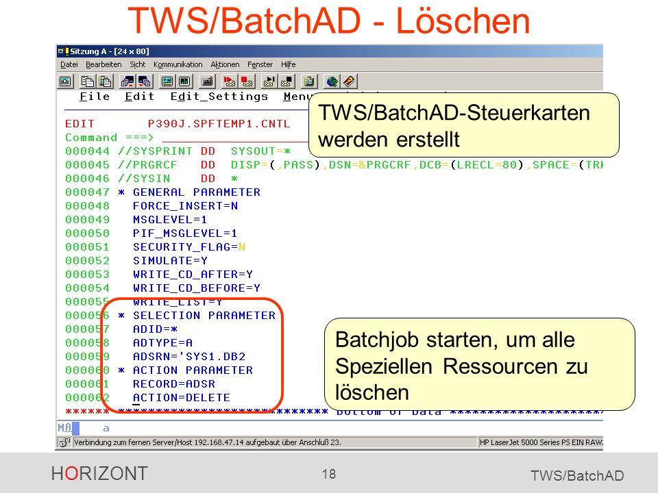 HORIZONT 18 TWS/BatchAD TWS/BatchAD - Löschen Batchjob starten, um alle Speziellen Ressourcen zu löschen TWS/BatchAD-Steuerkarten werden erstellt