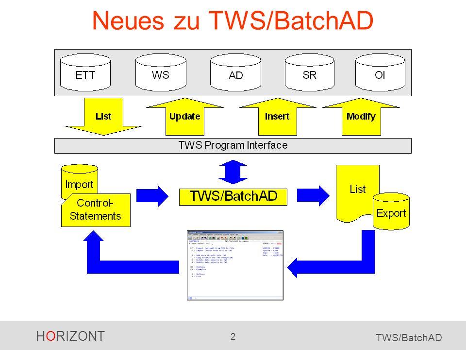 HORIZONT 3 TWS/BatchAD Für TWS/BatchAD gibt es jetzt einen ISPF Dialog: Ermöglicht fehlerfreies Generieren von TWS/BatchAD Steuerkarten Beispiele und Vorlagen aus der Dokumentation sind online verfügbar.