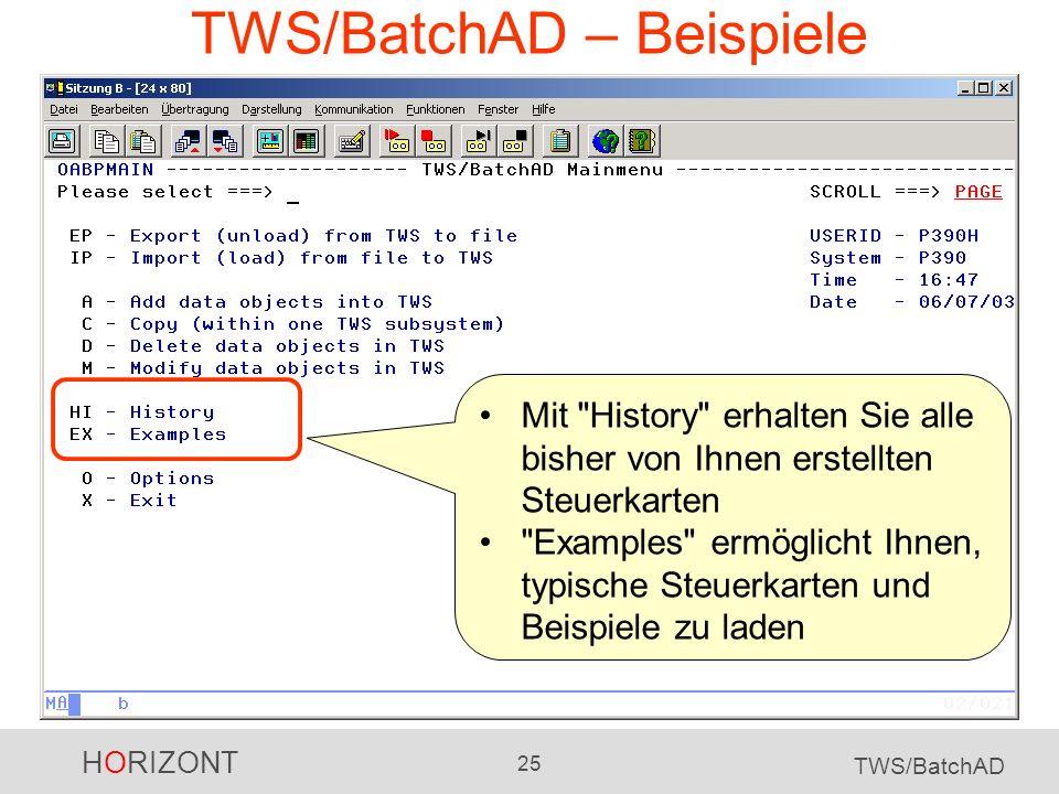 HORIZONT 25 TWS/BatchAD TWS/BatchAD – Beispiele Mit