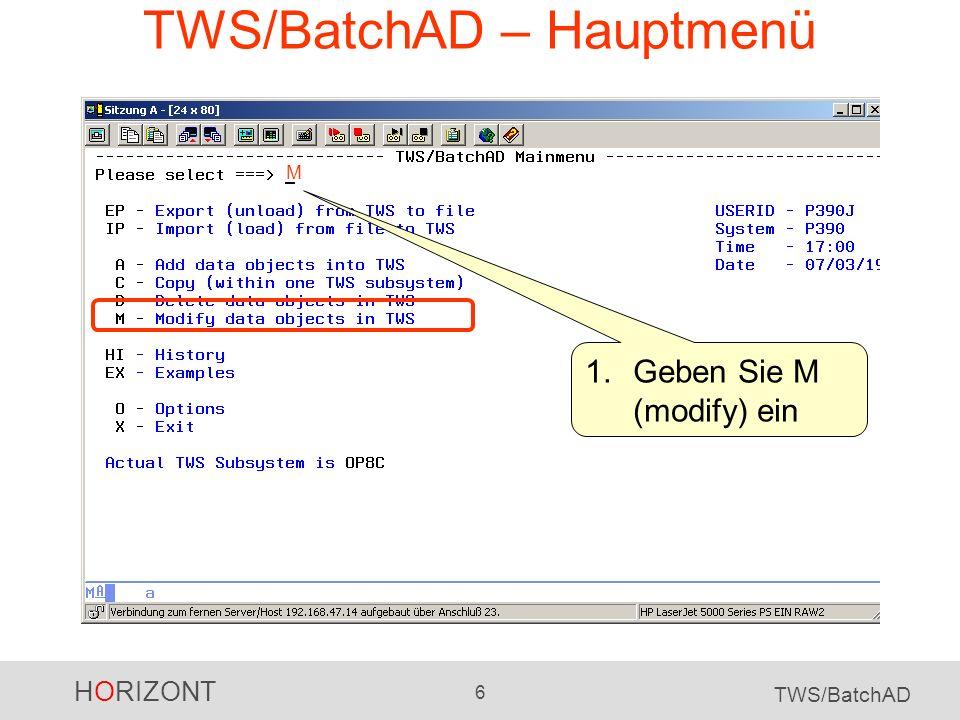 HORIZONT 7 TWS/BatchAD TWS/BatchAD – Objekt auswählen 2.Geben Sie 12 ein, wenn Sie Operationen ändern möchten