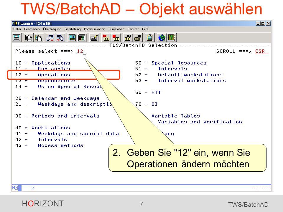 HORIZONT 8 TWS/BatchAD TWS/BatchAD – Operation ändern 3.Hier geben Sie die Auswahlkriterien für die generellen Auftragsdaten an...