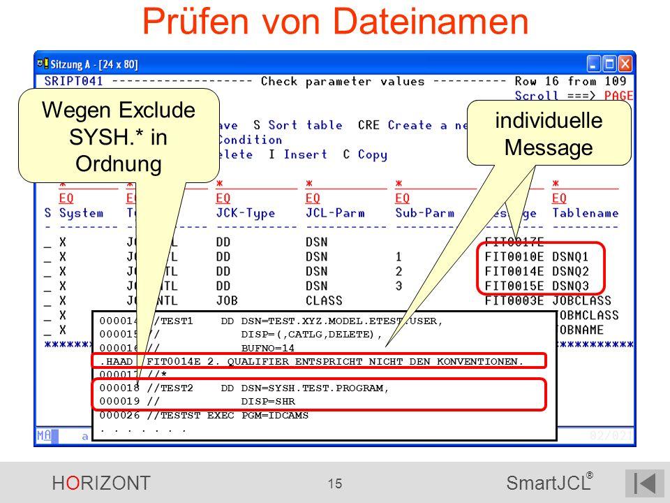 HORIZONT 15 SmartJCL ® Prüfen von Dateinamen 000014 //TEST1 DD DSN=TEST.XYZ.MODEL.ETEST.USER, 000015 // DISP=(,CATLG,DELETE), 000016 // BUFNO=14.HAAD