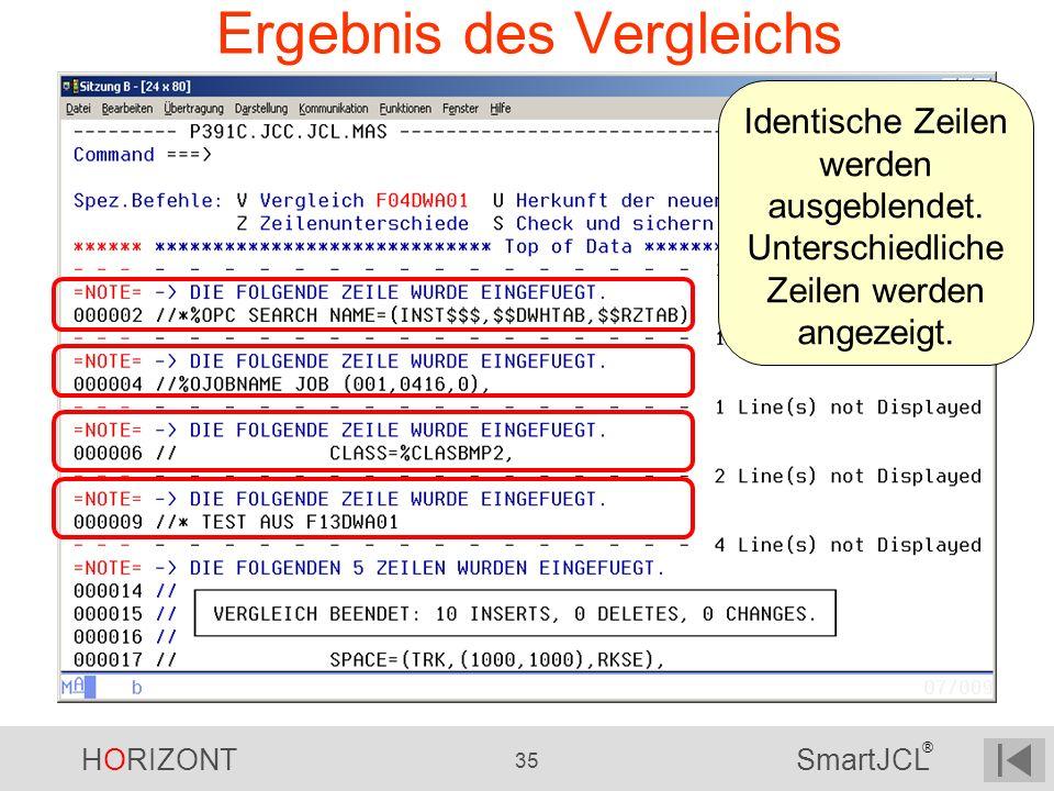 HORIZONT 35 SmartJCL ® Ergebnis des Vergleichs Identische Zeilen werden ausgeblendet. Unterschiedliche Zeilen werden angezeigt.