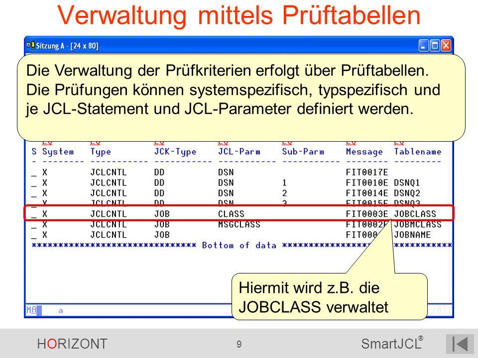 HORIZONT 9 SmartJCL ® Verwaltung mittels Prüftabellen Die Verwaltung der Prüfkriterien erfolgt über Prüftabellen. Die Prüfungen können systemspezifisc