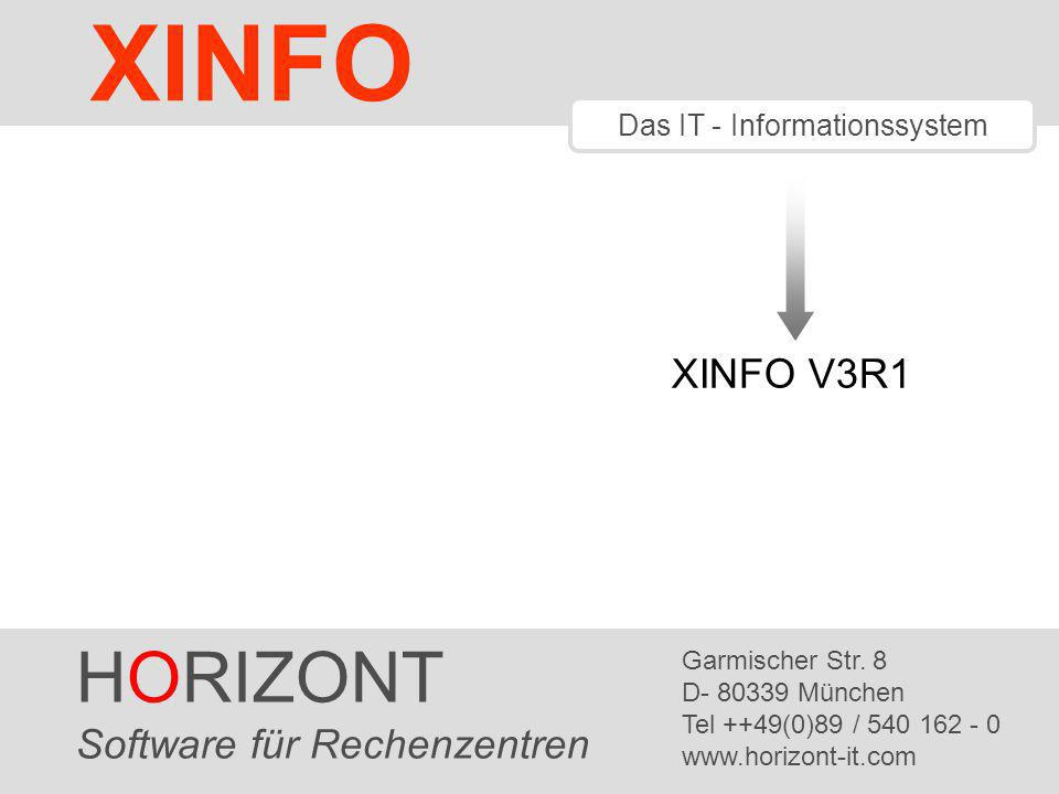 HORIZONT 2 XINFO ® XINFO V3R1 DS (Distributed Systems) SAP Scanner C Scanner Load Module Scanner IT-Charts Universelle Netzpläne Weitere Neuigkeiten In XINFO 3.1 gibt es folgende Neuerungen: