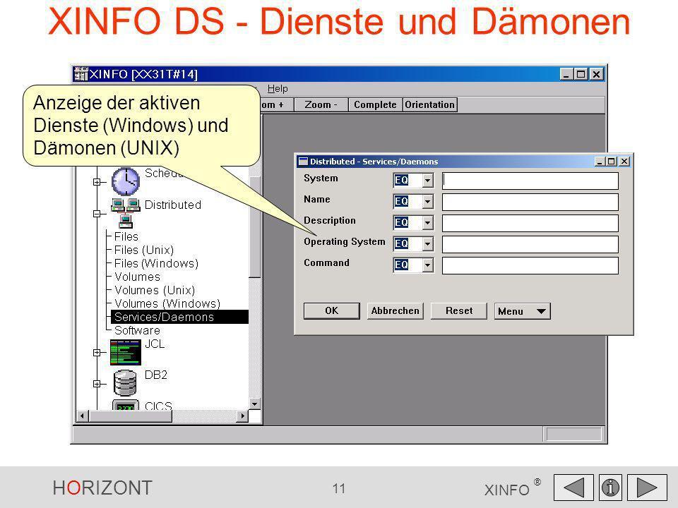 HORIZONT 11 XINFO ® XINFO DS - Dienste und Dämonen Anzeige der aktiven Dienste (Windows) und Dämonen (UNIX)