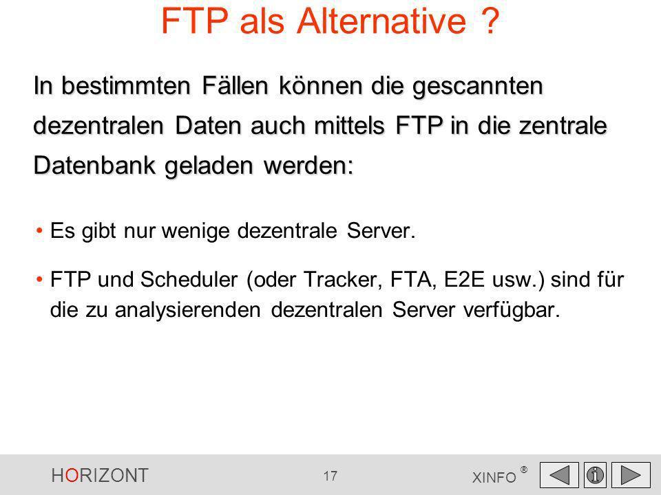 HORIZONT 17 XINFO ® FTP als Alternative ? Es gibt nur wenige dezentrale Server. FTP und Scheduler (oder Tracker, FTA, E2E usw.) sind für die zu analys