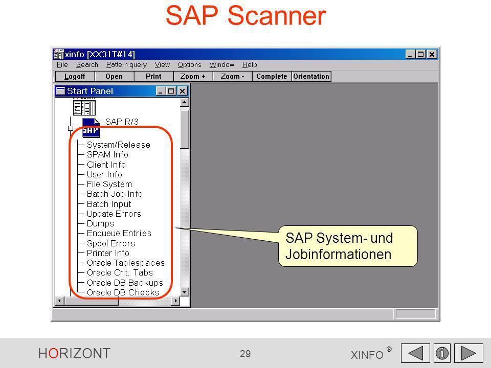 HORIZONT 29 XINFO ® SAP Scanner SAP System- und Jobinformationen