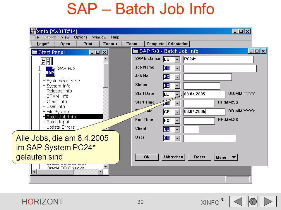 HORIZONT 30 XINFO ® SAP – Batch Job Info Alle Jobs, die am 8.4.2005 im SAP System PC24* gelaufen sind