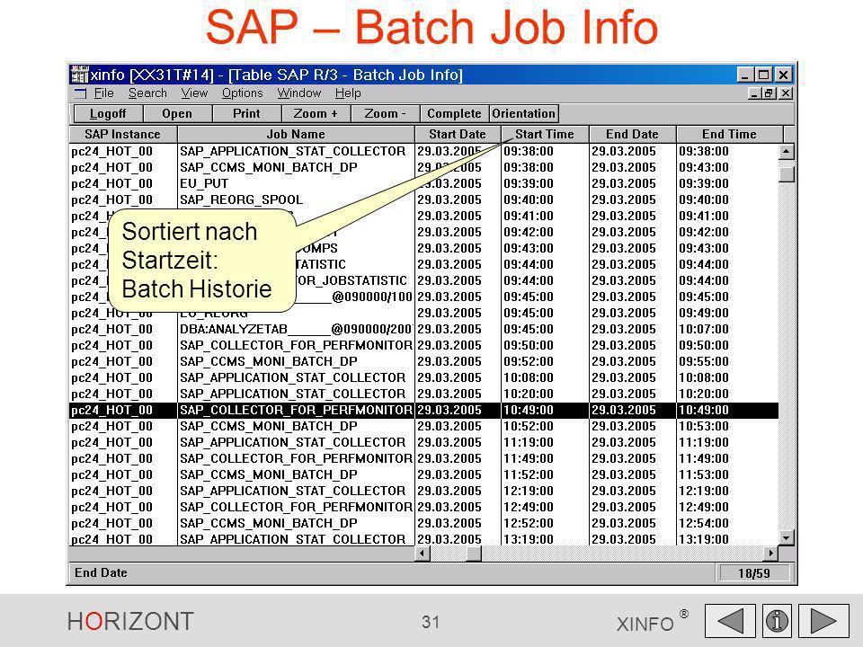 HORIZONT 31 XINFO ® SAP – Batch Job Info Sortiert nach Startzeit: Batch Historie