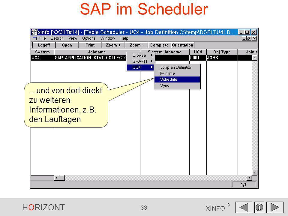 HORIZONT 33 XINFO ® SAP im Scheduler...und von dort direkt zu weiteren Informationen, z.B. den Lauftagen