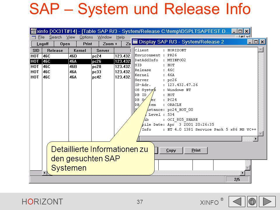 HORIZONT 37 XINFO ® SAP – System und Release Info Detaillierte Informationen zu den gesuchten SAP Systemen