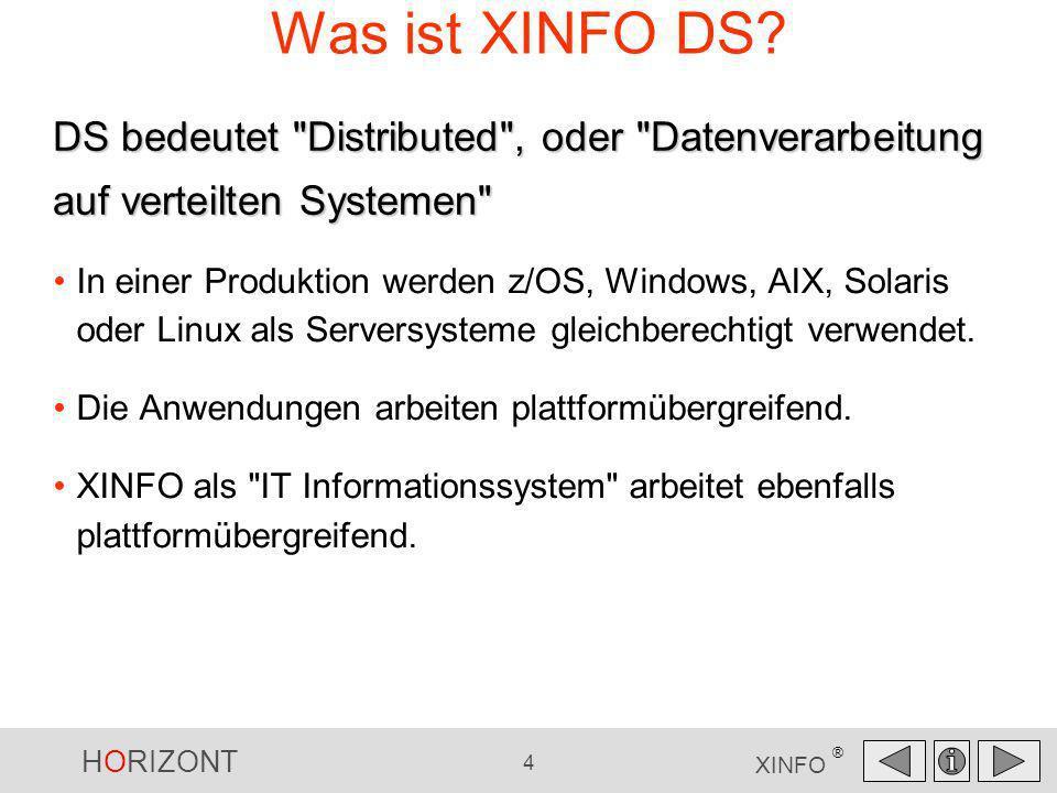 HORIZONT 4 XINFO ® Was ist XINFO DS? In einer Produktion werden z/OS, Windows, AIX, Solaris oder Linux als Serversysteme gleichberechtigt verwendet. D