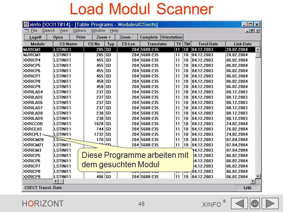 HORIZONT 46 XINFO ® Load Modul Scanner Diese Programme arbeiten mit dem gesuchten Modul